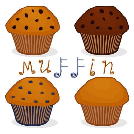 Vector icon illustration for set homemade muffin, blue berry blueberry, brown chocolate, sweet raisins on morning breakfast. Muffin pattern of natural french dessert biscuit. Eat tasty muffins. Çizim