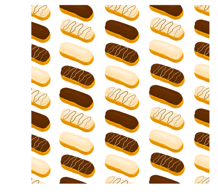 Vector icon illustration logo for cake French eclair with custard cream.