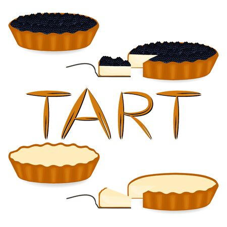 Vector icon illustration logo for whole berry pie tart, slice homemade bakery. Tart pattern consisting of different dessert confectionery, baked in oven Pie. Tasty pies tarts covered in berries creams