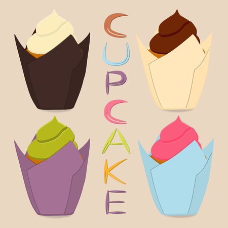 Vector icon illustration logo for whole berry cupcake, sweet homemade bakery. Cupcake pattern consisting of different dessert confectionery, whipped cream cake. Tasty cupcakes covered in fruit creams.