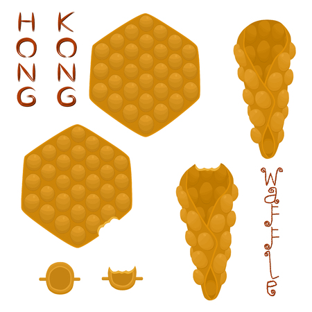 Vector icon illustration logo for set various sweet Hong Kong waffles with whipped cream. Waffle pattern consisting of bubble different dessert confectionery fresh wafer. Eat tasty patisserie waffle. 일러스트