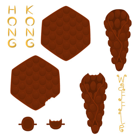 Vector icon illustration logo for set various sweet Hong Kong waffles with whipped cream. Waffle pattern consisting of bubble different dessert confectionery fresh wafer. Eat tasty patisserie waffle. Vectores
