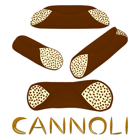 Vector illustration for various sweet waffles Sicilian dessert cannoli.