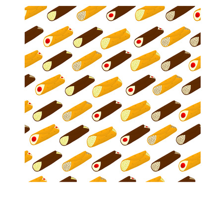 Vector illustration for various sweet waffles Sicilian dessert cannoli.