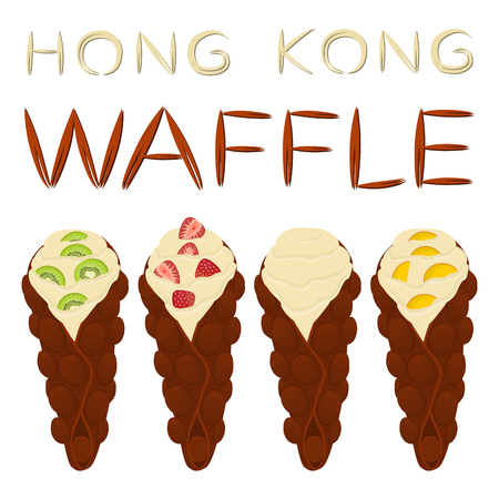 Vector icon illustration of Hong Kong waffles set