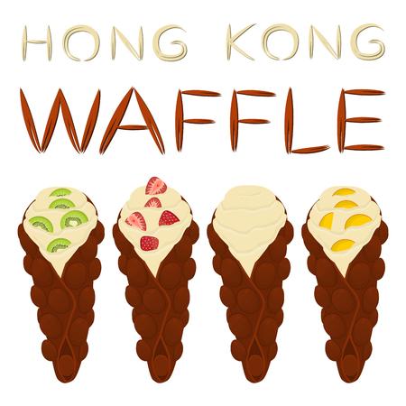Vector icon illustration of Hong Kong waffles set