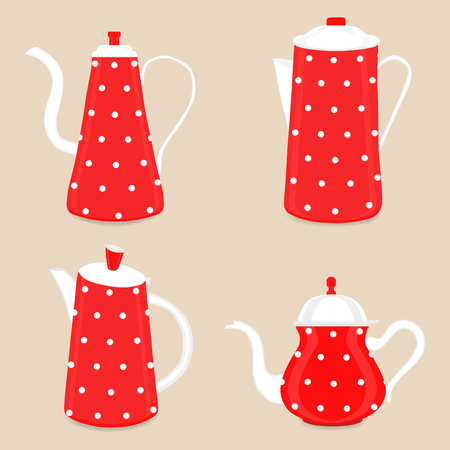 Abstract vector illustration for ceramic teapot, kettle on background. Teapot pattern consisting of glass kettles with handle, lid, spout for draining liquid coffee, tea. Kettle teas in teapots.