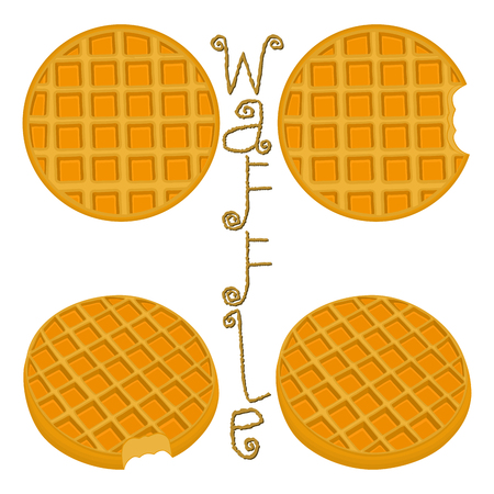 Vector icon illustration  for set various sweet waffles. Waffle pattern consisting of slice different dessert confectionery, fresh wafer with milk. Eat tasty patisserie waffle covered in milks.