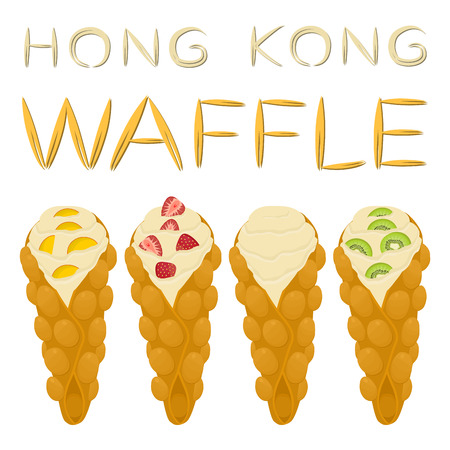 Vector icon illustration logo for set various sweet Hong Kong waffles with whipped cream. Waffle pattern consisting of bubble different dessert confectionery fresh wafer. Eat tasty patisserie waffle. Stock Illustratie
