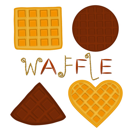 Vector icon illustration of various sweet waffles set