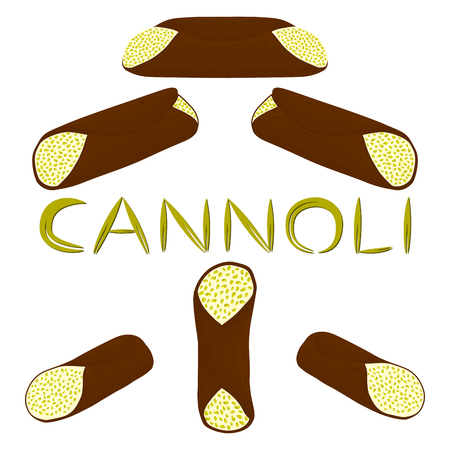 Vector illustration of various sweet Sicilian dessert cannoli set