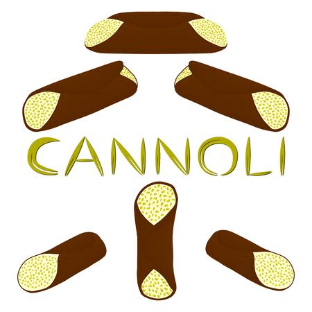 Vector illustration of various sweet Sicilian dessert cannoli set