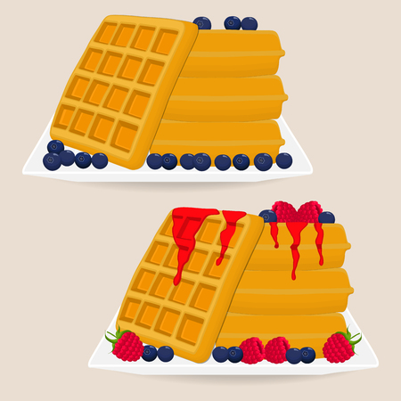 Vector icon illustration logo for various sweet waffles. Waffle pattern consisting of slice different dessert confectionery, wafer with raspberry. Eat tasty patisserie waffle covered in raspberries. Illustration