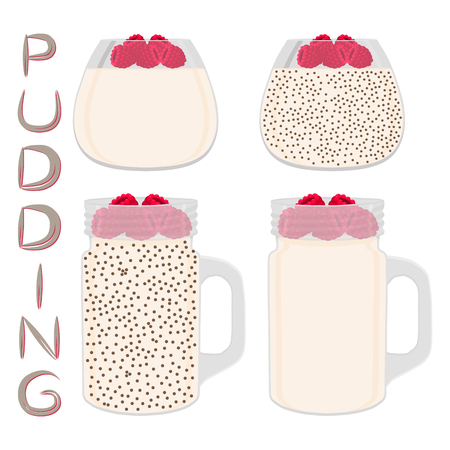 Vector icon illustration for set transparent glass cups with homemade dessert pudding. Pudding consists of natural sweet food, milk mousse decorated raspberries. Eat puddings with chia seeds.