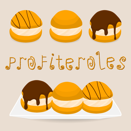 Vector illustration for homemade dessert puff cake profiterole. Profiterole consists of sweet confectionery, choux pastry with soft custard. Eat confectionery cakes profiteroles with chocolate. 矢量图像