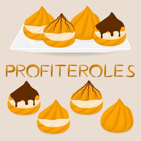 Vector illustration for homemade dessert puff cake profiterole. Profiterole consists of sweet confectionery, choux pastry with soft custard. Eat confectionery cakes profiteroles with chocolate. Illustration