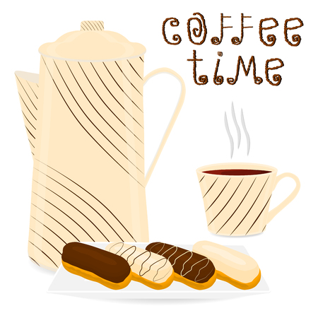 Vector illustration  for white ceramic cup of hot coffee, chocolate cream eclair on saucer. Eclair pattern consisting of coffee brewed in porcelain cups for sweet food. Cup coffee with eclairs.