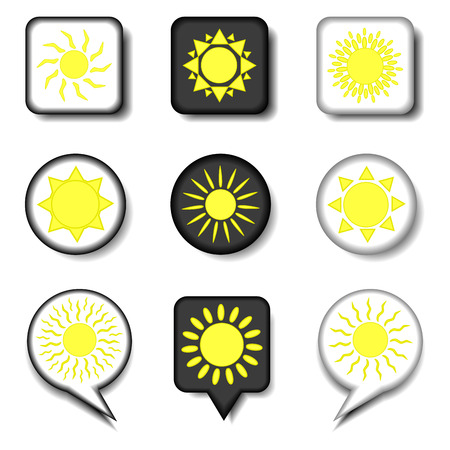 Vector icon illustration logo for set symbols hot yellow sunny sun with rays. Sun pattern consisting of flat design with elements mobile web apps. Collection modern infographic summer icons suns. 写真素材 - 101930672