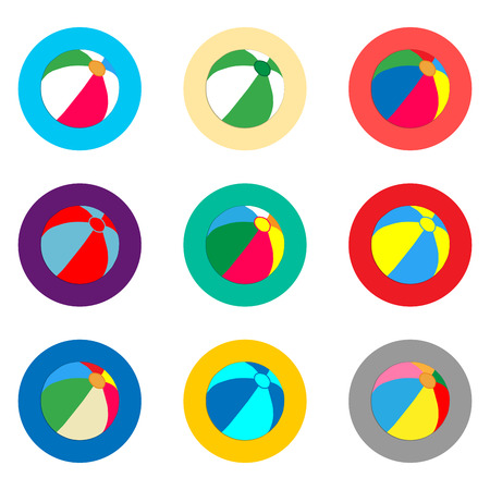 Vector icon illustration logo for set symbols beach inflatable ball for playing on the sand. Ball pattern consisting of flat design with elements web apps. Collection infographic icons beach balls. Illustration