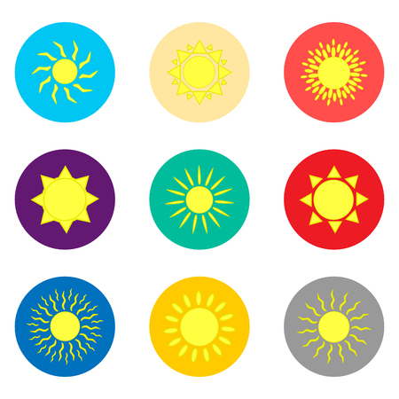Vector icon illustration logo for set symbols hot yellow sunny sun with rays. Sun pattern consisting of flat design with elements mobile web apps. Collection modern infographic summer icons suns.