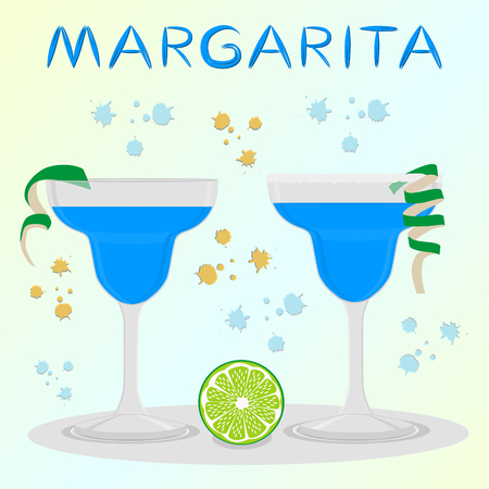 Vector icon illustration logo for alcohol cocktails margarita from citrus lime. Margarita consisting of full glass cup with transparent cocktail of green limes. Cocktail of cubes ice in glassware.