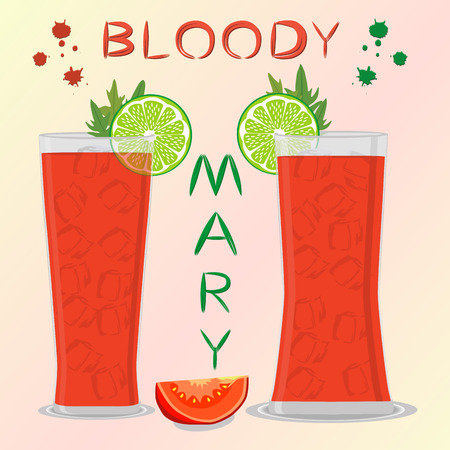 Vector icon illustration logo for alcohol cocktails bloody mary from sliced tomatoes. Bloody Mary consisting of full glass cup with vegetable cocktail of celery. Cocktail of cubes ice in tomato juice.
