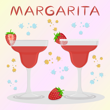 Vector icon illustration logo for alcohol cocktails margarita from berry strawberry. Margarita consisting of full glass cup with transparent cocktail of strawberries.Cocktail of cubes ice in glassware Illusztráció
