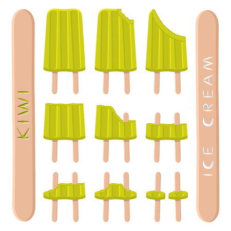 Vector illustration consisting of sweet cold icecream, set tasty frozen dessert. Fresh fruit icecreams of green kiwis on sticks.