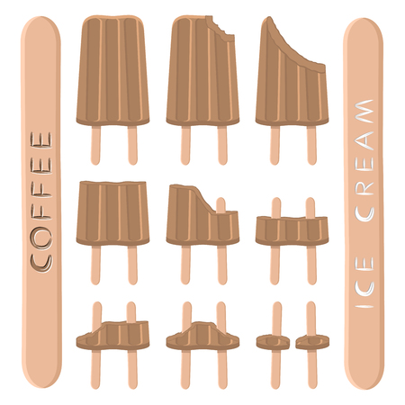 Vector illustration for natural coffee ice cream on stick. Ice Cream pattern consisting of sweet cold icecream, set tasty frozen dessert. Fresh brown icecreams of seeds coffee on sticks.