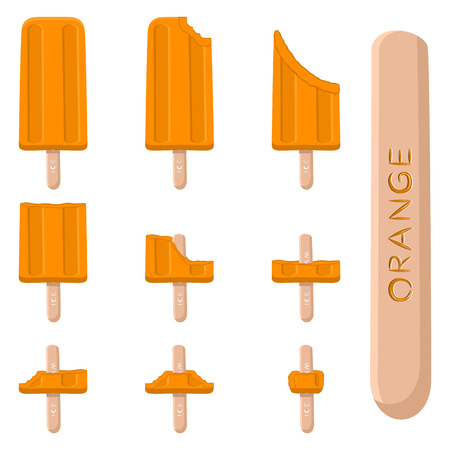 Vector illustration for natural orange ice cream on stick. Ice Cream pattern consisting of sweet cold icecream, set tasty frozen dessert. Fresh fruit icecreams of yellow oranges on sticks.