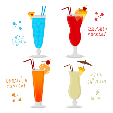 Vector illustration for set alcohol cocktails, zombie, pina colada, tequila sunrise. Full glass cup with cocktail, slice fruits. Cocktail lagoon, zombie, pina colada, tequila for holiday.