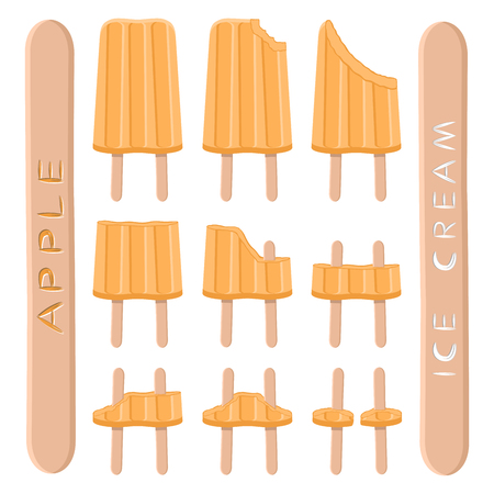 Vector illustration logo for natural apple ice cream on stick. Ice Cream pattern consisting of sweet cold icecream, set tasty frozen fruits dessert. Fresh fruit icecreams of yellow apples on sticks. Vectores