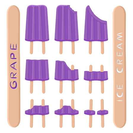 Vector illustration logo for natural grape ice cream on stick. Ice Cream pattern consisting of sweet cold icecream, set tasty frozen dessert. Fresh fruit icecreams of purple grapes on sticks.