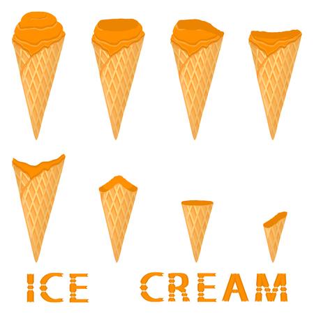 Vector illustration for natural mandarin ice cream on waffle cone. Ice Cream pattern consisting of sweet cold icecream, tasty frozen dessert. Fresh fruit icecreams of mandarin in wafer cones.