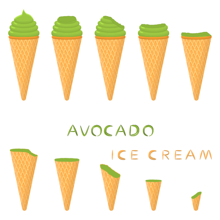 Vector illustration for natural avocado ice cream on waffle cone. Ice Cream pattern consisting of sweet cold icecream, tasty frozen dessert. Fresh fruit icecreams of avocado in wafer cones.