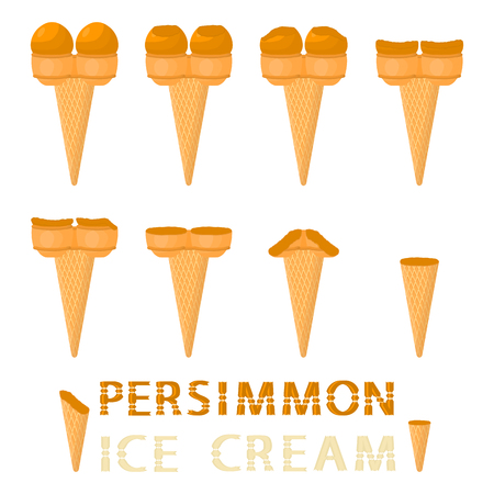 Vector illustration for natural persimmon ice cream on waffle cone. Ice Cream pattern consisting of sweet cold icecream, tasty frozen dessert. Fresh fruit icecreams of persimmon in wafer cones. Vetores
