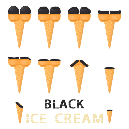 Vector illustration for natural black ice cream on waffle cone. Ice Cream pattern consisting of sweet cold icecream, tasty frozen dessert. Fresh fruit icecreams of black in wafer cones.
