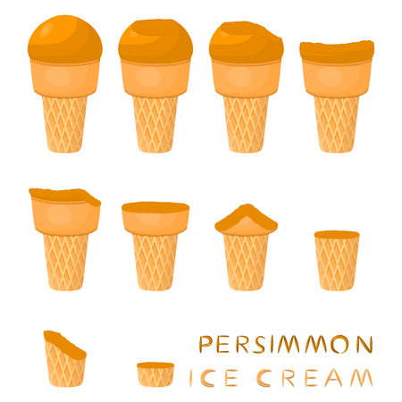 Vector illustration for natural persimmon ice cream on waffle cone. Ice Cream pattern consisting of sweet cold icecream, tasty frozen dessert. Fresh fruit icecreams of persimmon in wafer cones. Stock Illustratie