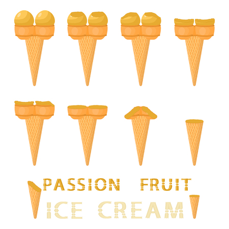 Vector illustration for natural passion fruit ice cream on waffle cone. Ice Cream pattern consisting of sweet cold icecream, tasty frozen dessert. Fresh fruit icecreams of passionfruit in wafer cone Vektorgrafik