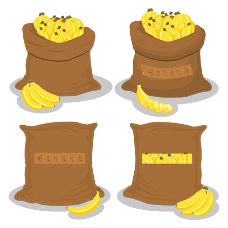 Vector icon illustration logo for bags filled with fruit yellow banana, storage in sacks. Banana pattern consisting of ripe food, raw product on open Sack. Tasty banana from eco sack, full baggy bag.