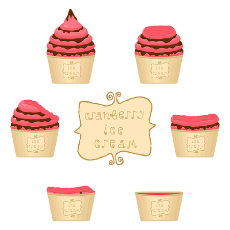 Vector illustration for natural cranberry ice cream on paper cup. Ice Cream pattern consisting of sweet cold icecream, set tasty frozen dessert. Fresh fruit icecreams of cranberry in paper bowls.