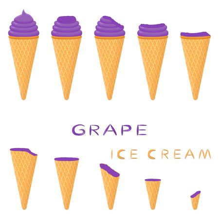 Vektorillustration für natürliches Traubeneis auf Waffelkegel. Eiscrememuster bestehend aus süßem kaltem Eis, leckerem gefrorenem Dessert. Frisches Fruchteis der Traube in Waffelkegeln.