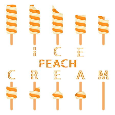 Vector illustration logo for natural peach ice cream on stick. Ice Cream pattern consisting of sweet cold icecream, set tasty frozen dessert. Fresh fruit icecreams of peach on sticks.
