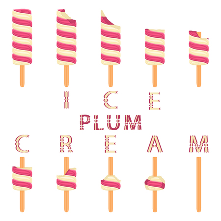Vector illustration logo for natural plum ice cream on stick. Ice Cream pattern consisting of sweet cold icecream, set tasty frozen dessert. Fresh fruit icecreams of plum on sticks. 向量圖像