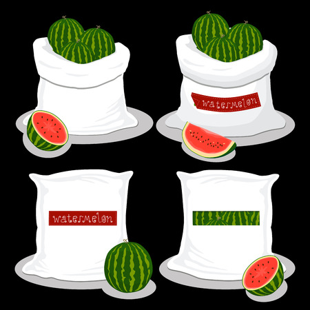 Vector illustration logo for bags filled with red watermelon, storage in sacks. Watermelon pattern consisting of ripe food, raw product on open Sack. Tasty watermelon from eco sack, full baggy bag.