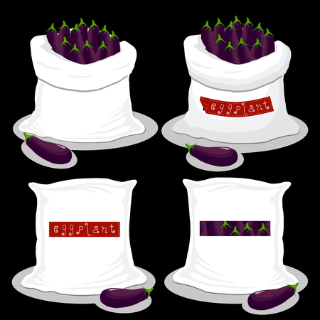Vector illustration for bags filled with vegetable purple eggplant, storage in sacks. Eggplant pattern consisting of ripe food, raw product on open Sack. Tasty eggplant from eco sack, full baggy bag. Illustration