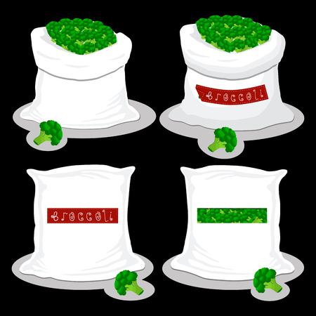Vector illustration for bags filled with vegetable green broccoli, storage in sacks. Broccoli pattern consisting of ripe food, raw product on open Sack. Tasty broccoli from eco sack, full baggy bag.