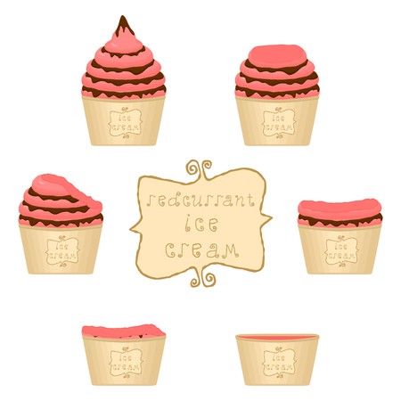Vector illustration for natural red currant ice cream on paper cup. Ice Cream pattern consisting of sweet cold icecream, set tasty frozen dessert. Fresh fruit icecreams of currant in paper bowls. Illusztráció