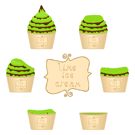 Vector illustration for natural lime ice cream on paper cup. Ice Cream pattern consisting of sweet cold icecream, set tasty frozen dessert. Fresh fruit icecreams of green lime in paper bowls.