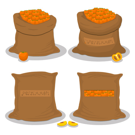 Vector illustration for bags filled with fruit orange persimmon, storage in sacks. Persimmon pattern consisting of ripe food, raw product on open Sack. Tasty persimmon from eco sack, full baggy bag. Illustration